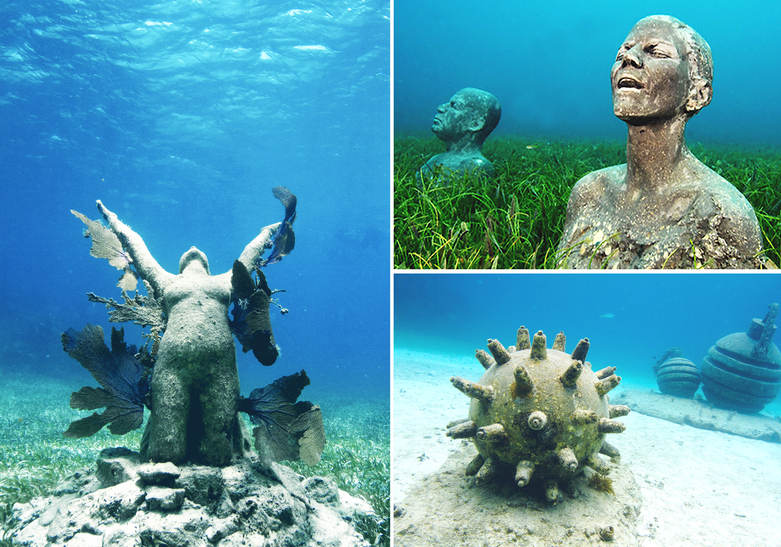 A collage of scuptures at MUSA, Punta Nizuc, Mexico