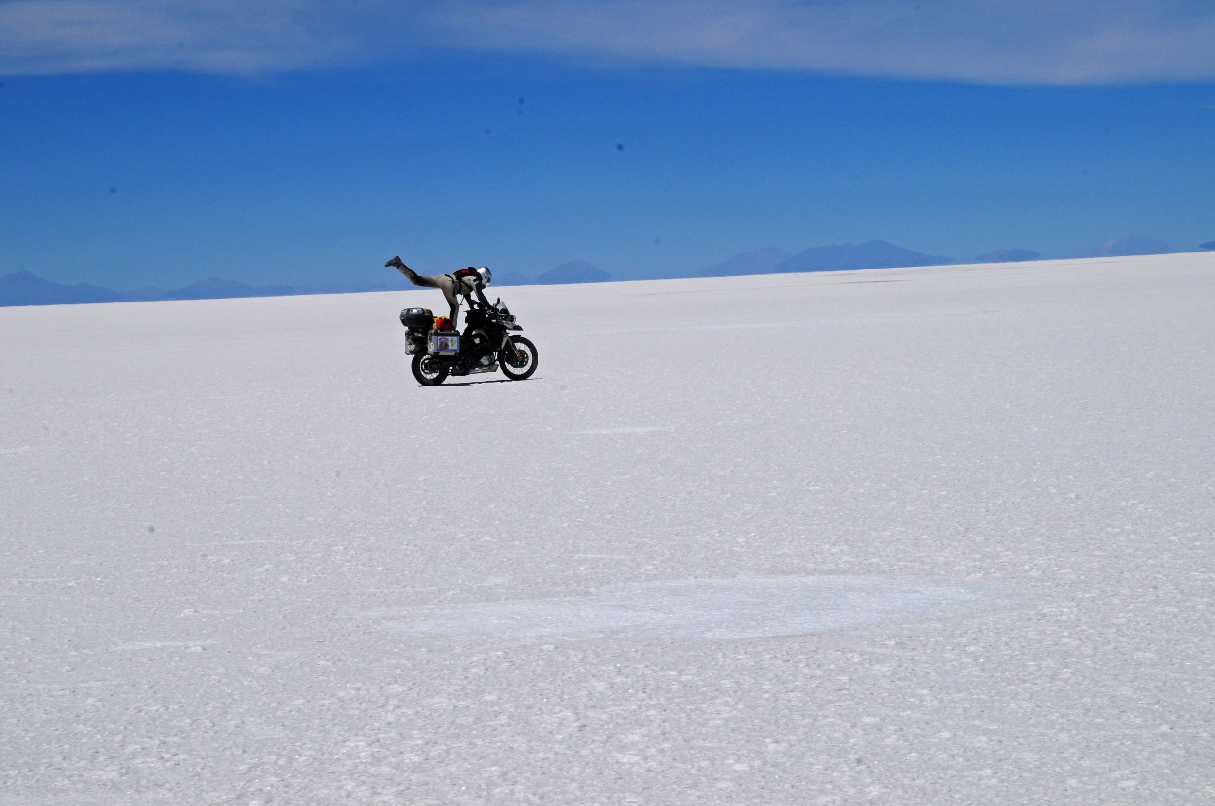Motorcycle adventure: Stunts in the Andes.