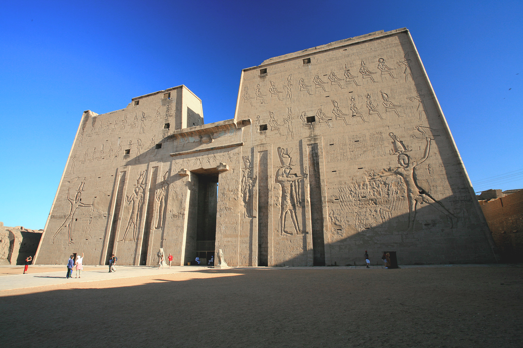 Front view of the facade of the Temple of Edfu in Egypt