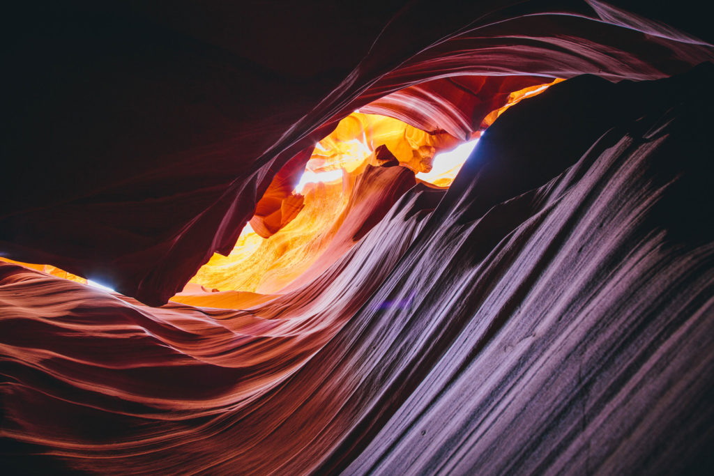 Antelope Canyon detail A close encounter reveals fluid lines and layers, characteristics formed through sub-aerial processes and flash flooding.