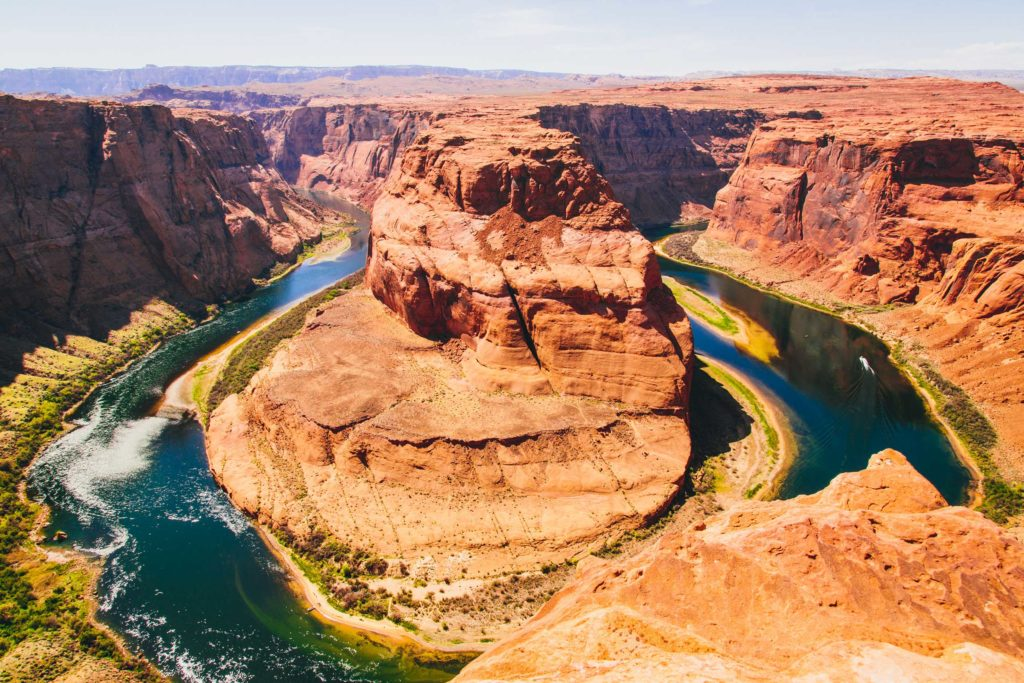 Horseshoe Bend Here, the Colorado River makes a 180 degree turn. The river has eroded the Navajo Sandstone, creating a canyon 335 metres deep.
