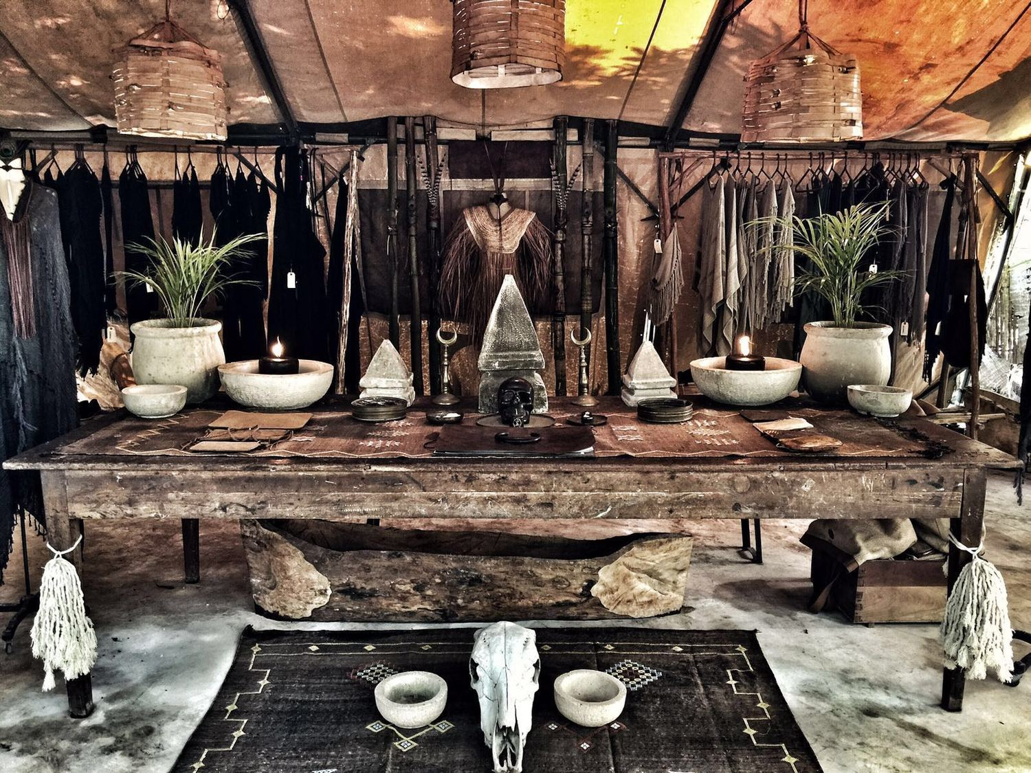 A tent displaying artefacts at Caravana, Tulum
