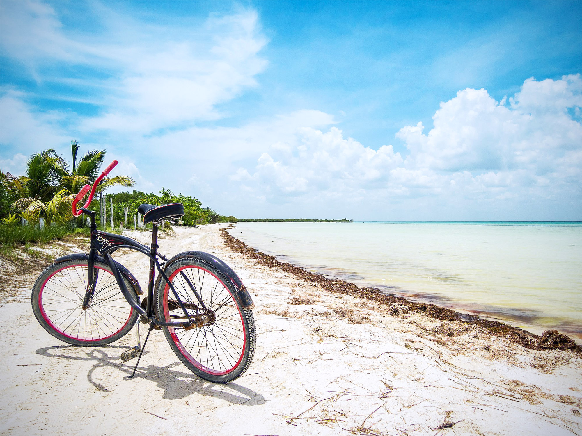 Bicycle parked on the beach right next to the sea, Isla Holbox, Mexico