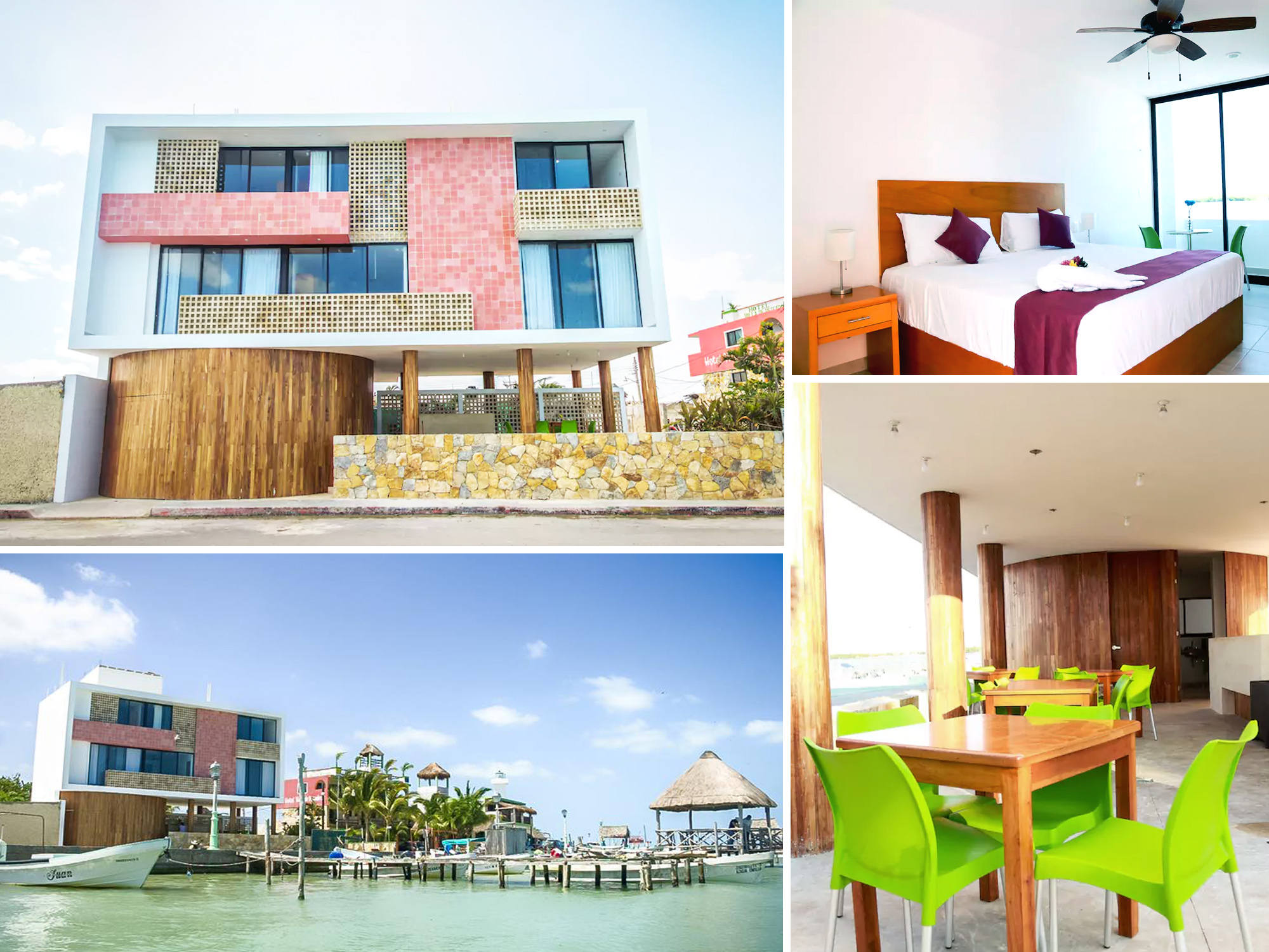 A collage of the exterior and interiors of Yuum Ha Boutique Hotel, Rio Lagartos, Mexico.