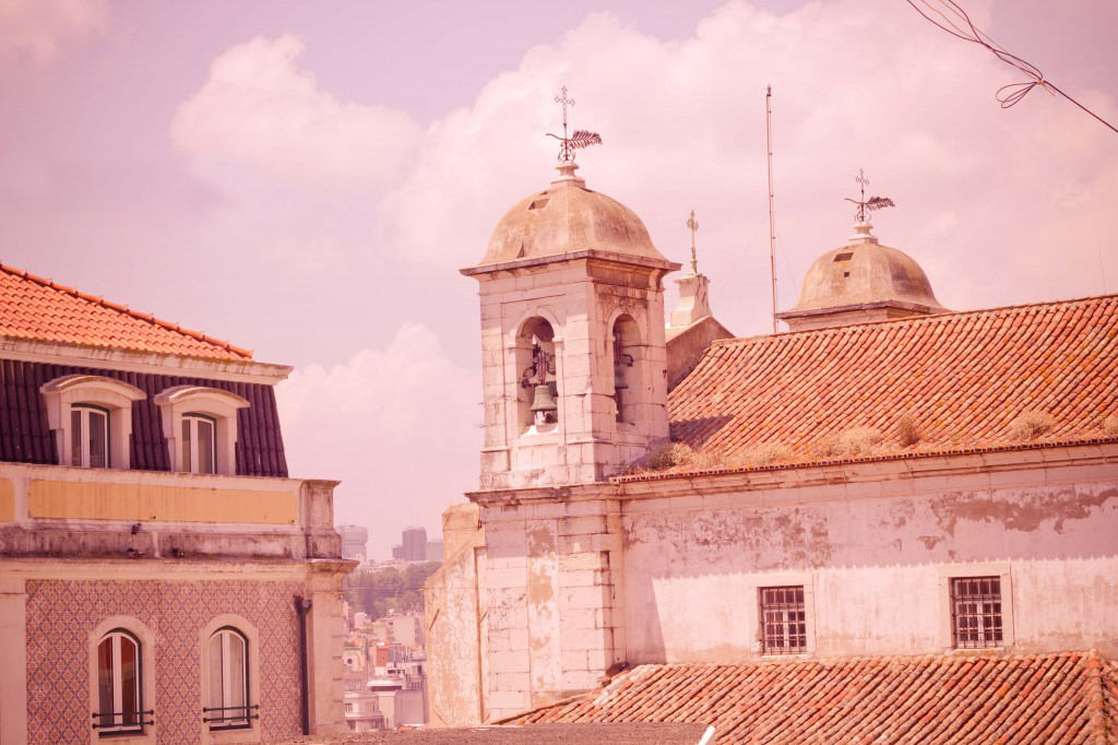 Red-tiled rooftop of a church in Lisbon