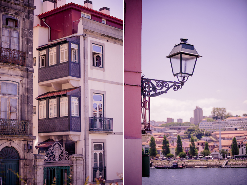 Details of Lisbon: A Victorian lamp over the river and an old building