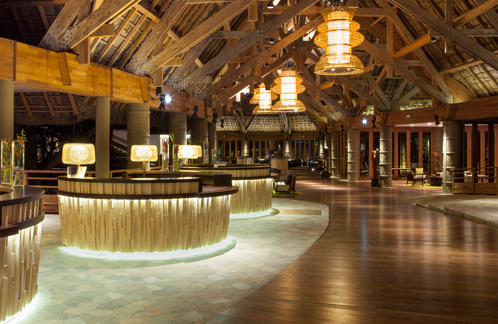 The cane chandeliered wooden reception area of the Sheraton Deva, New Caledonia