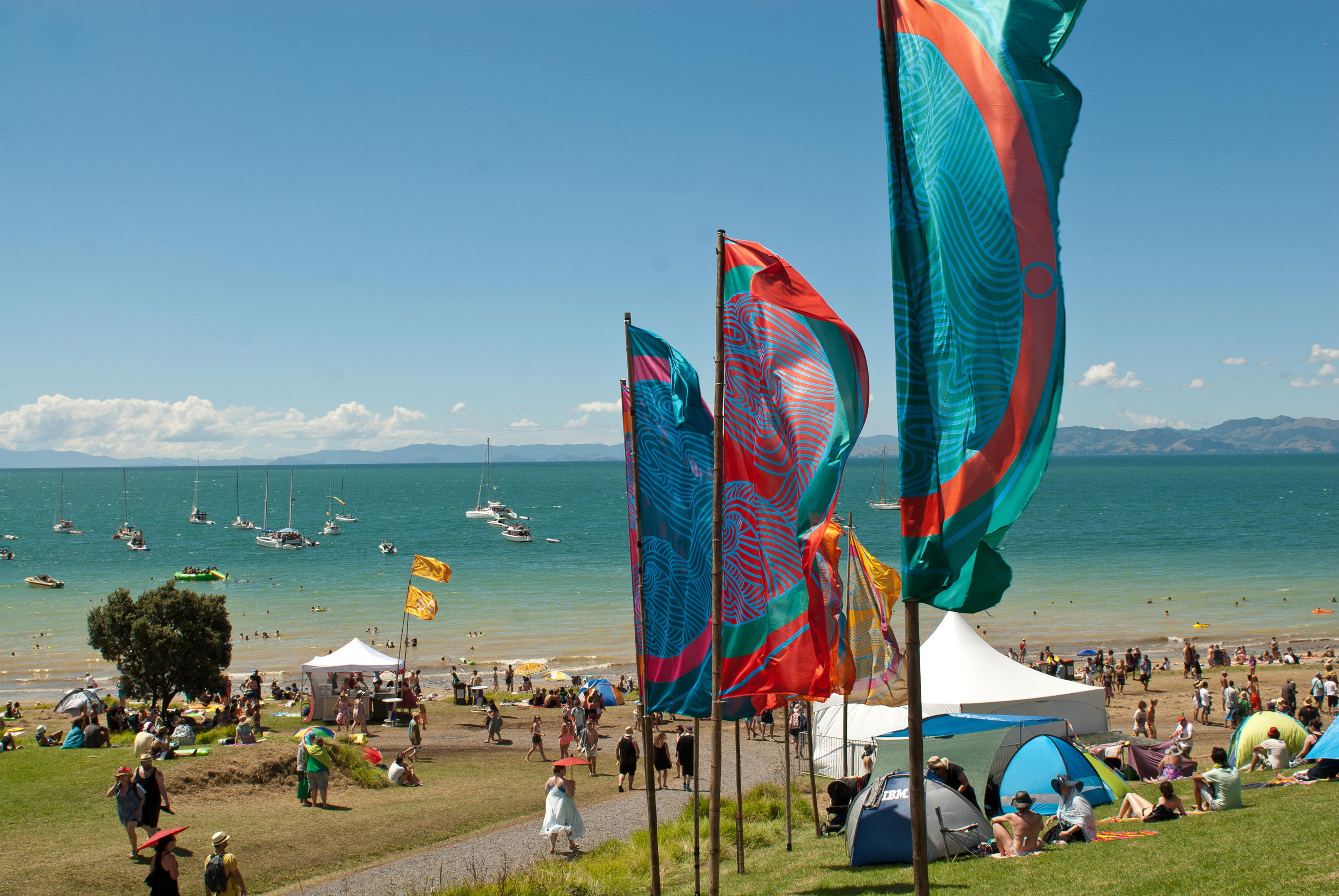 Splore banners in front of the beach