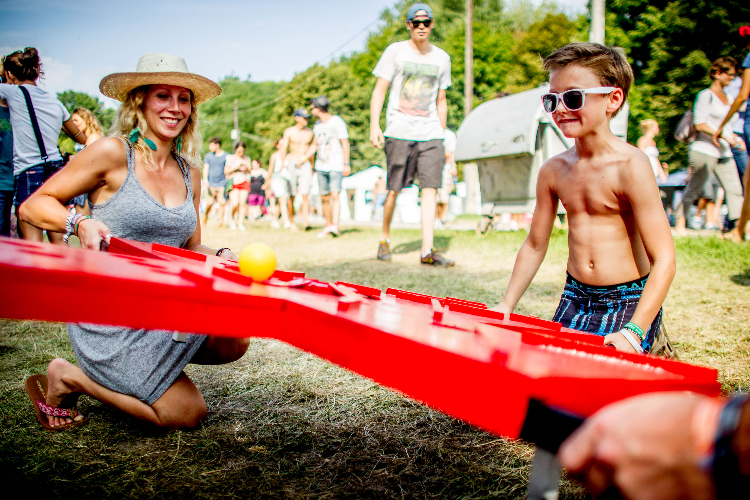 Family enjoys a game at Sziget Festival