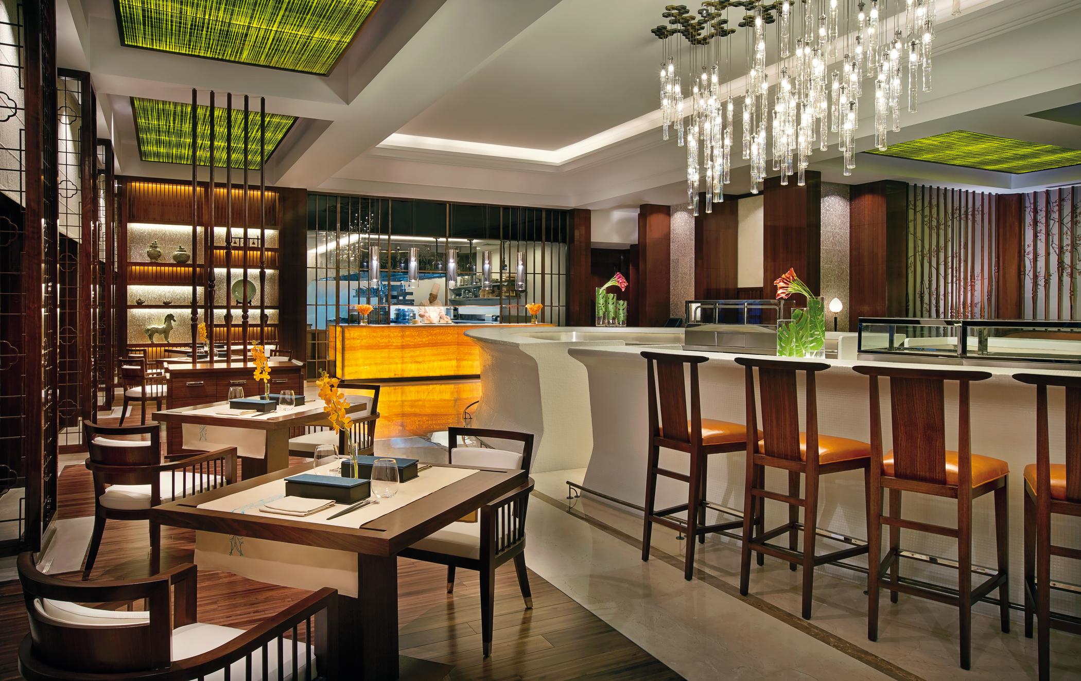 The interior of Blue Jade Restaurant, Ritz Carlton, Dubai