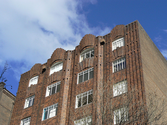 The brick front facade of the Wychbury building exemplifies Potts Point's Art Deco architecture