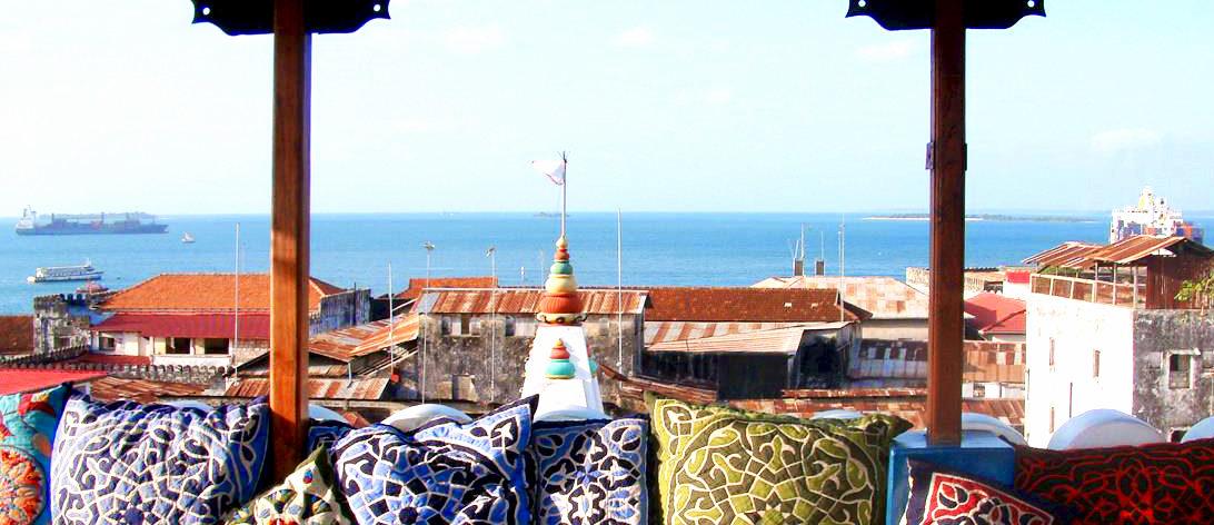 Emerson on Hurumzi's Arabian-style rooftop.