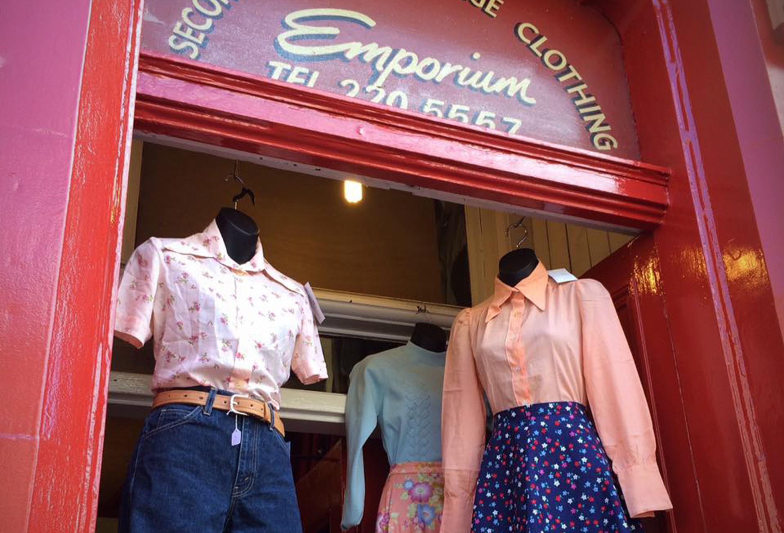 Vintage clothing on mannequins in the window at Armstrong's Emporium, Edinburgh