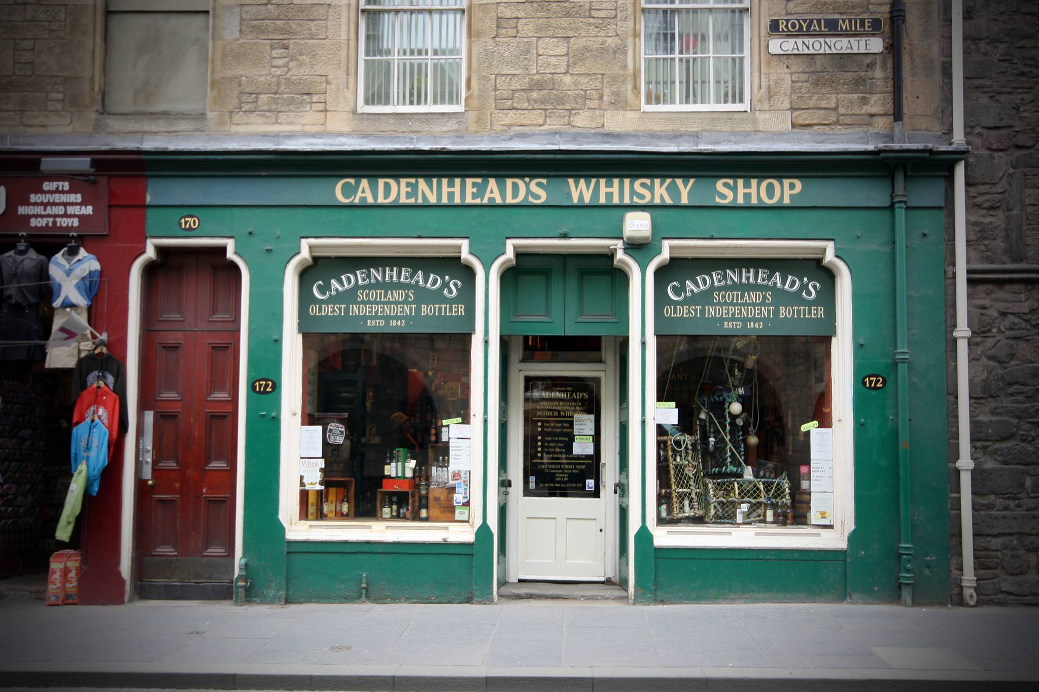 The green shopfront of Cadenheads Whisky Shop, Edinburgh