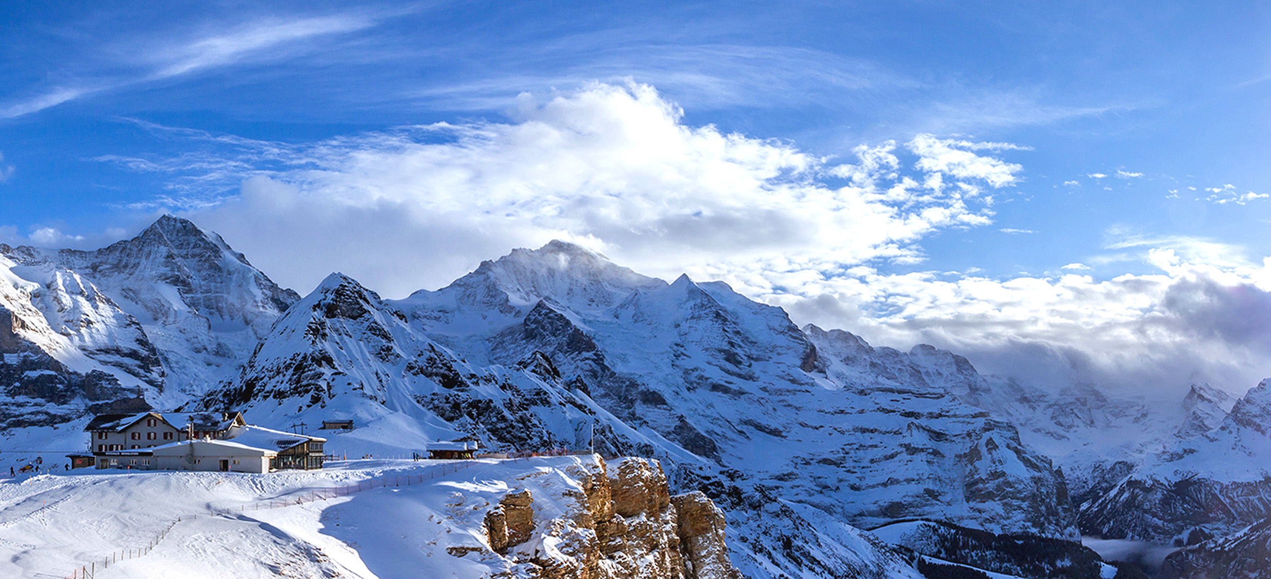A picturesque view of very snowy Alps