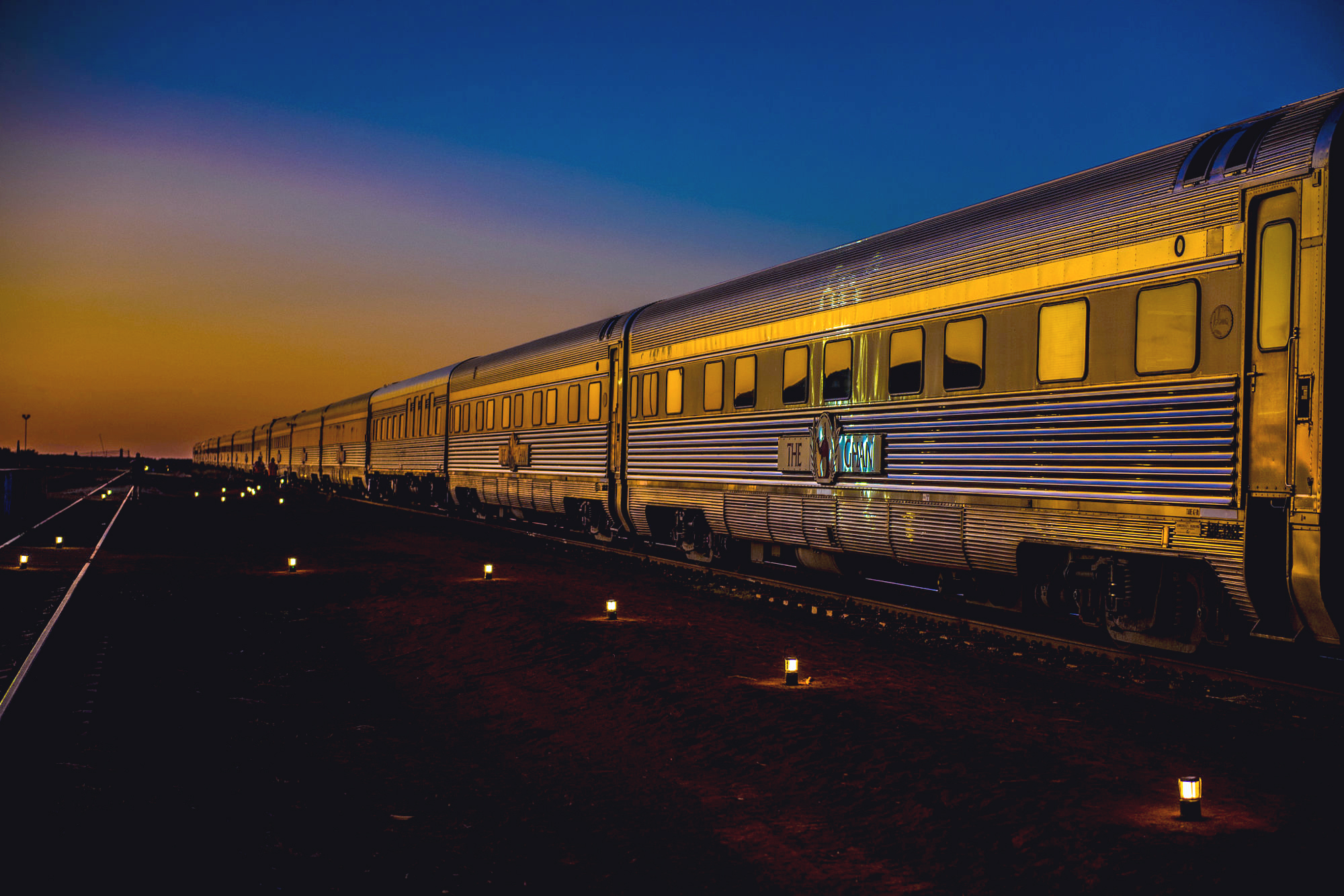 Night shot of a train rolling past, The Ghan, Australia