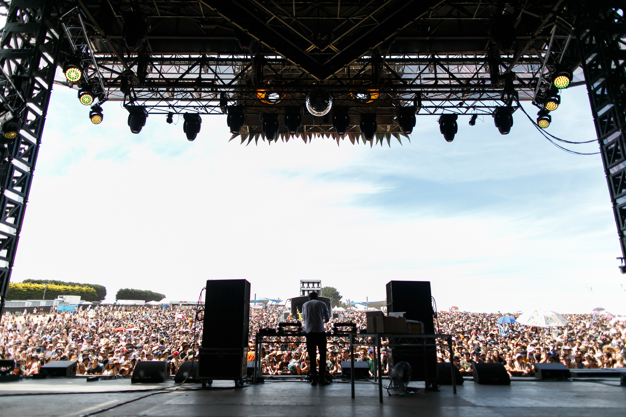 View out to the crowd from the stage at Beyond the Valley festival, Lardner Park, Australia