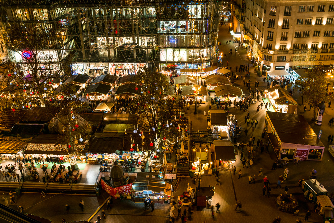 An aerial shot of the Christmas Fair at night