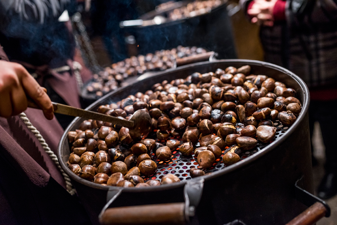 Chestnuts roasting at a stall in the Budapest Christmas Fair