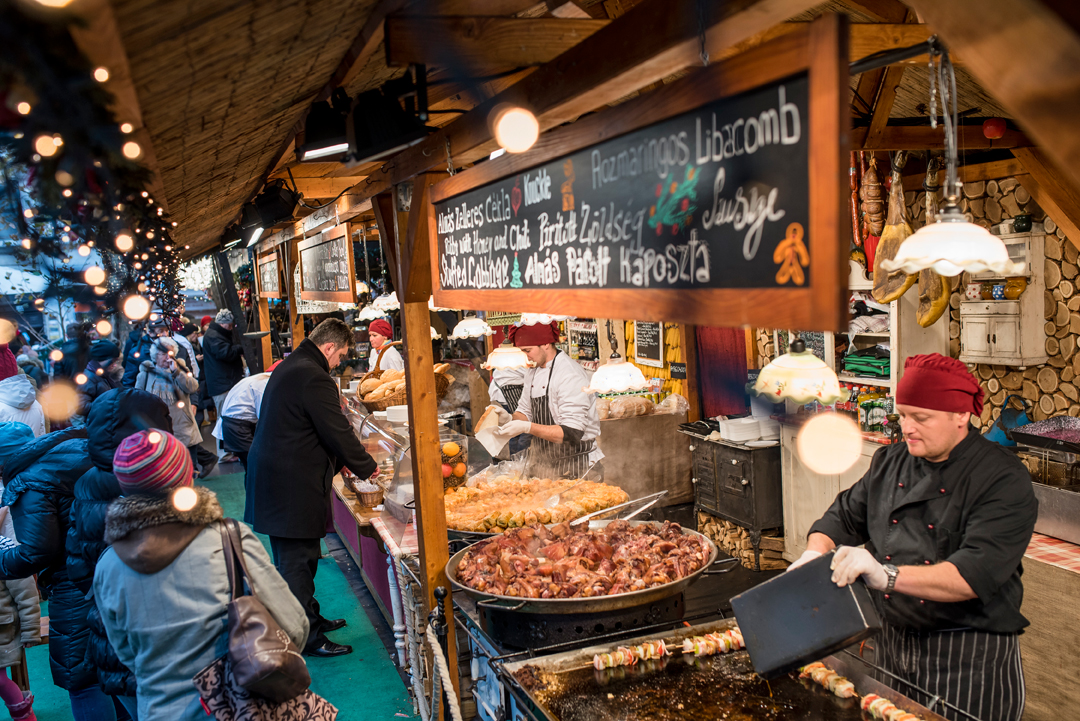 More stalls serving food at the Budapest Christmas Fair