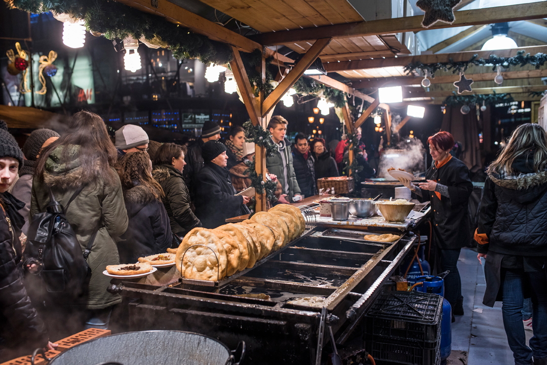 A food stall selling warm food