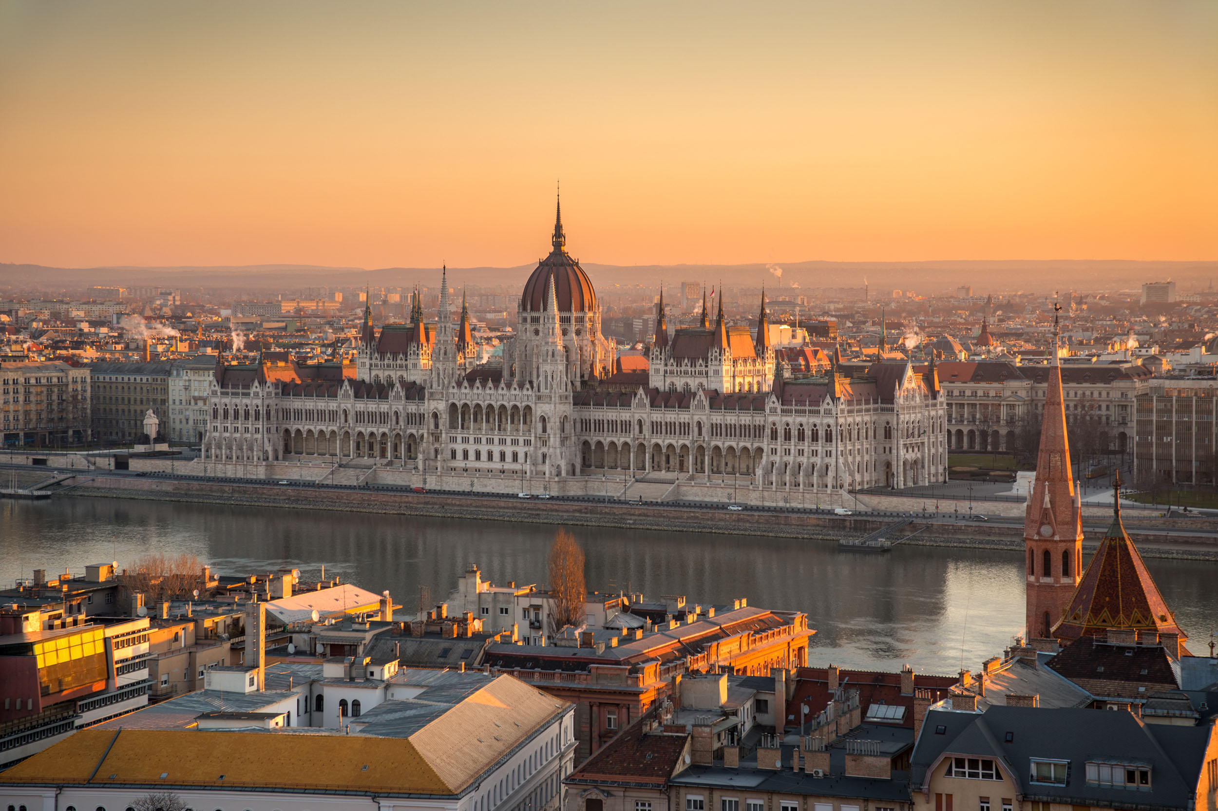 Hungarian Parliament Building at sunrise in Budapest, Hungary.