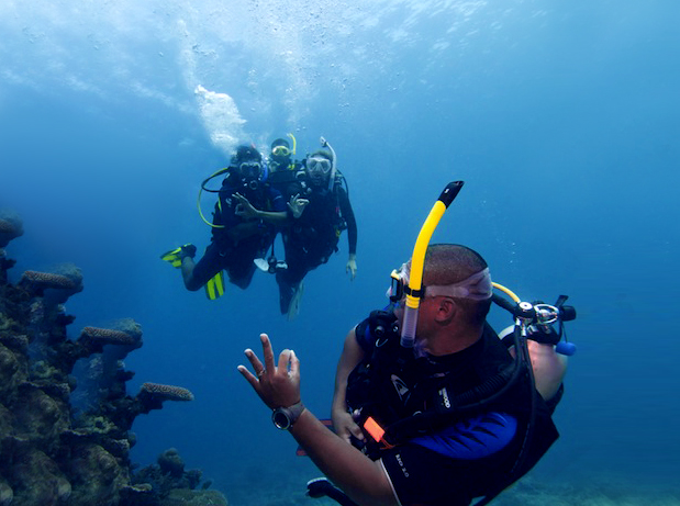 Dive master guides new divers through underwater experiences in Vanuatu