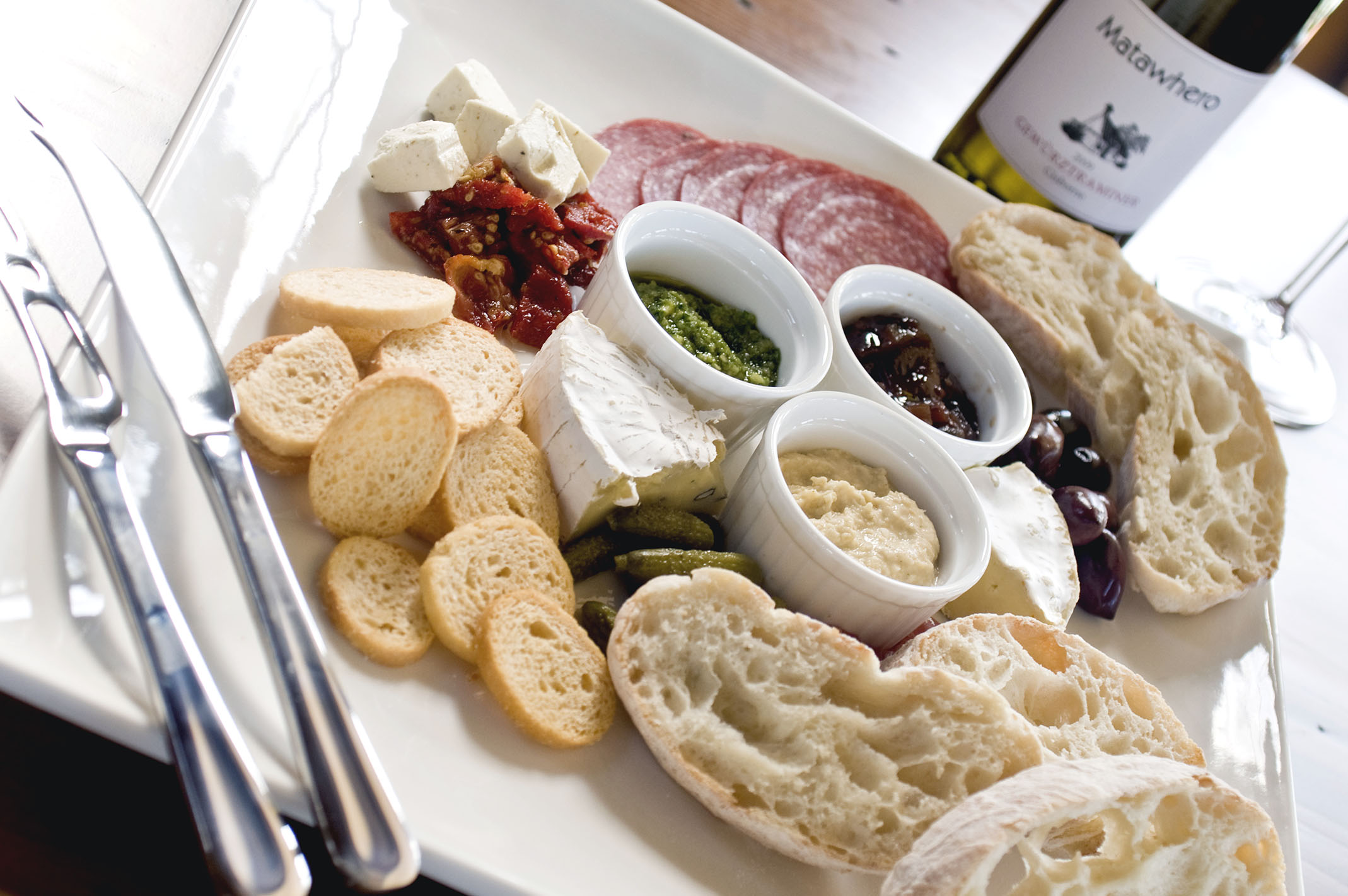 A platter of breads and salami at Matawhero Vineyards at the Gisborne Wine and Food Weekend