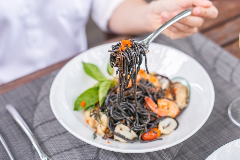 Squid ink spaghetti at VinCotto, perfect with a GranMonte Estate rosé.