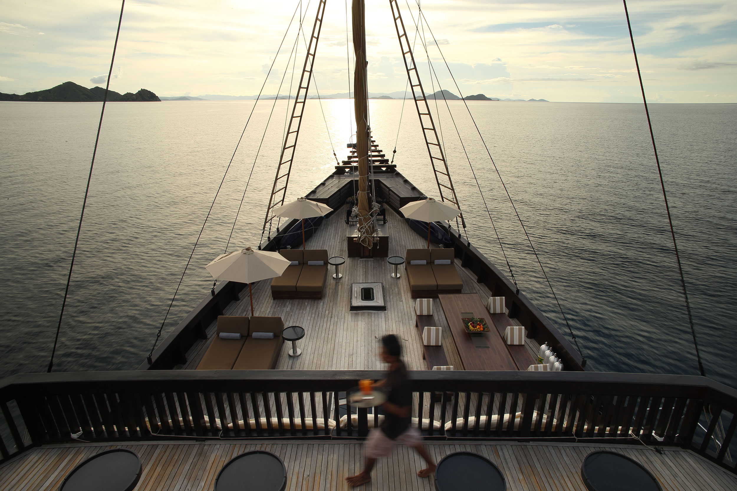 Deck view aboard the Alila Purnama.