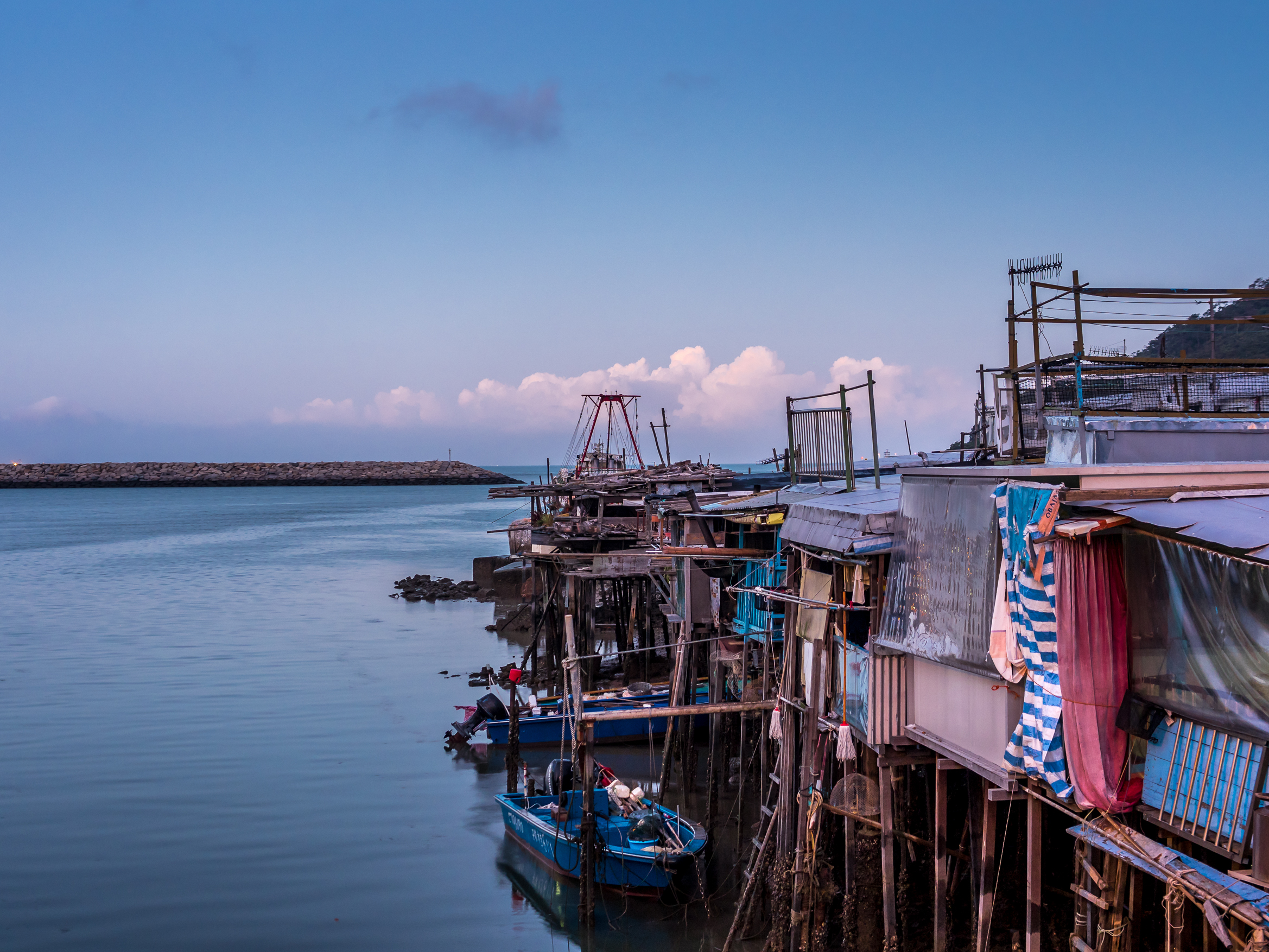 The fishing village of Tai O at dawn, Hong Kong