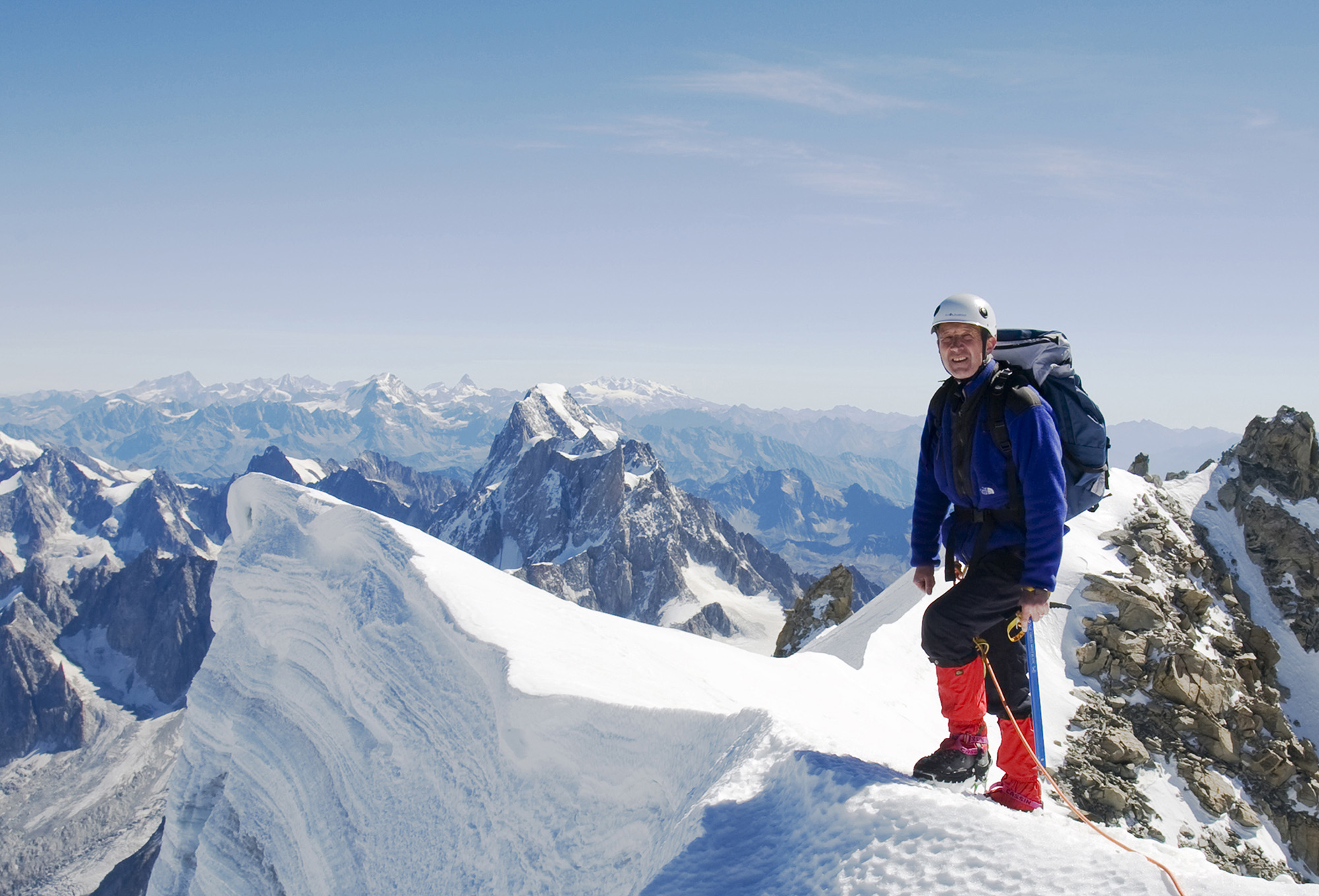 The author on the summit of the 4248-metre peak of Mont Blanc Du Tacul above Chamonix, France.