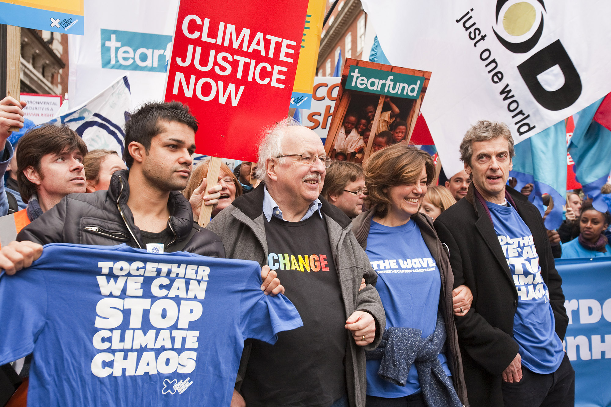 Celebrities including the actor Peter Capaldi and the former BBC weatherman Michael Fish join the Wave climate change protest rally.
