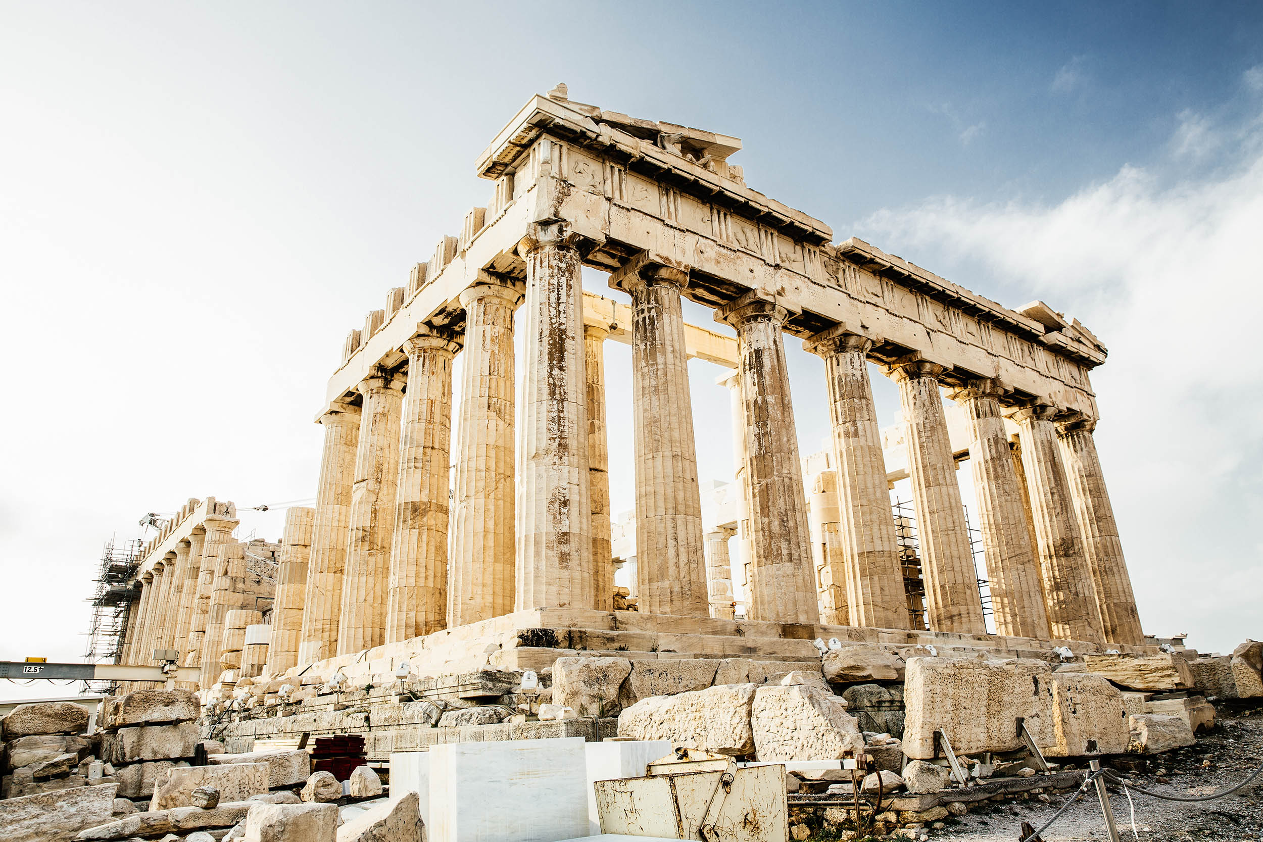 The ruins and crumbling multi Doric-columned building, the Parthenon, Athens