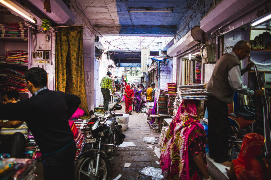 The vibrant streets of old Jodhpur, where a maze of alleyways leads one through colourful markets and shops of all varieties.