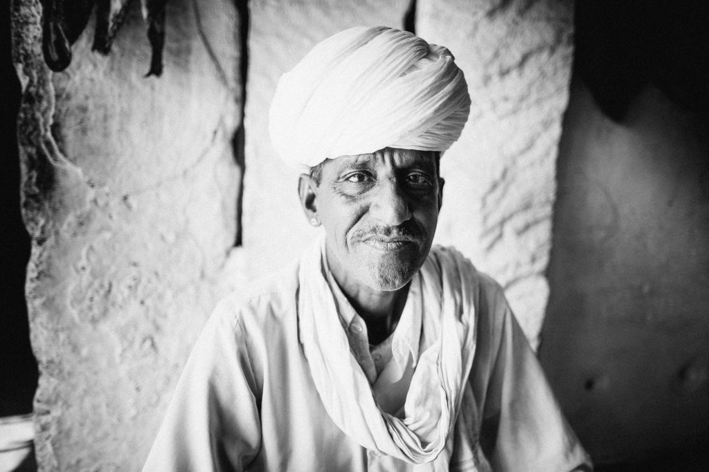 A man from a Bishnoi village encountered en route to Udaipur, Rajasthan.