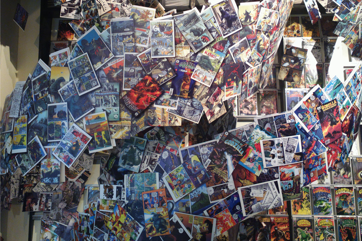Comic books installation arranged in a spiral, Comic-Con, San Diego