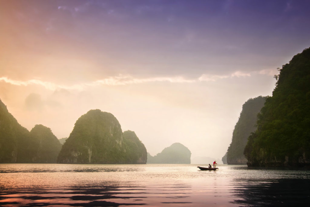 Rising out of the water in Halong Bay are thousands of small islands made of limestone that are covered in thick jungle vegetation. The fishermen who live in the floating villages of this region sell their seafood all over Vietnam.