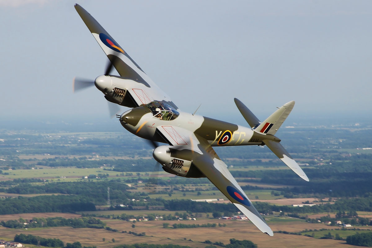 Close-up of a Mosquito bomber in the air