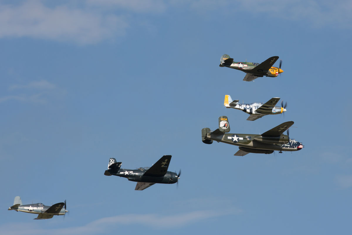 Warbirds flying in formation at Oshkosh