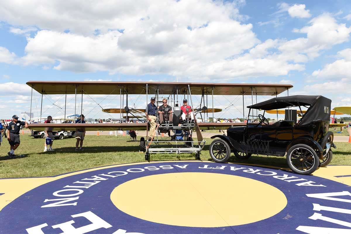 A wooden biplane replica of the Wright Brothers' aircraft