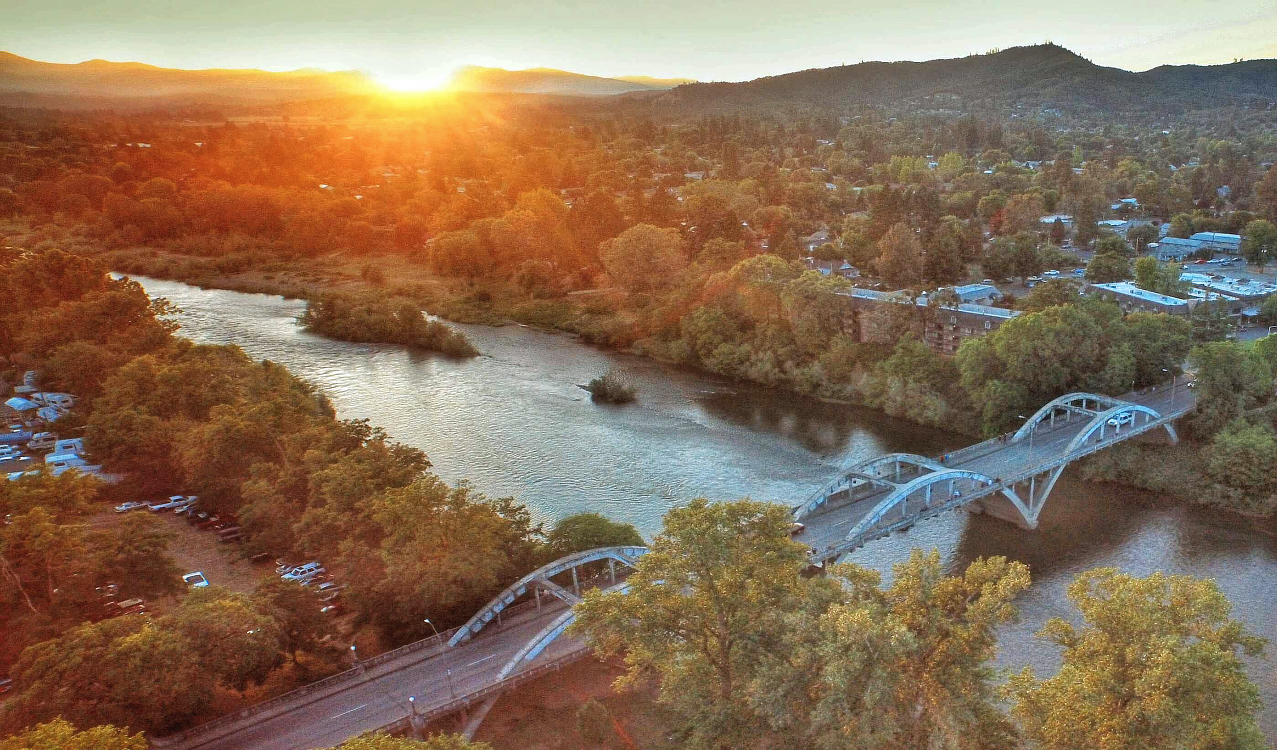 Bird's eye view of Grants Pass at sunset.