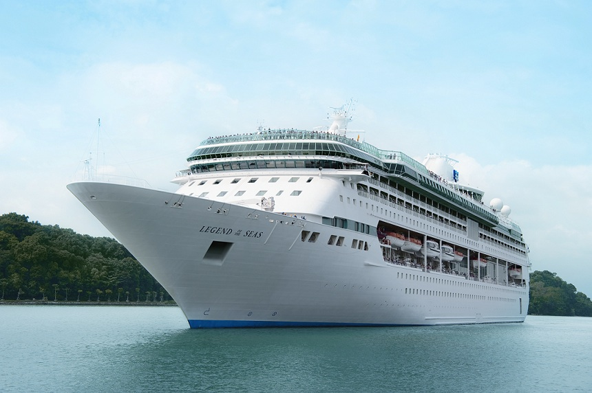 Exterior shot of Legend of the Seas on the water