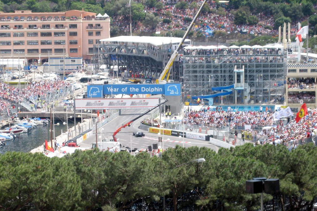 View of the stands built up around a corner of the track at Monaco