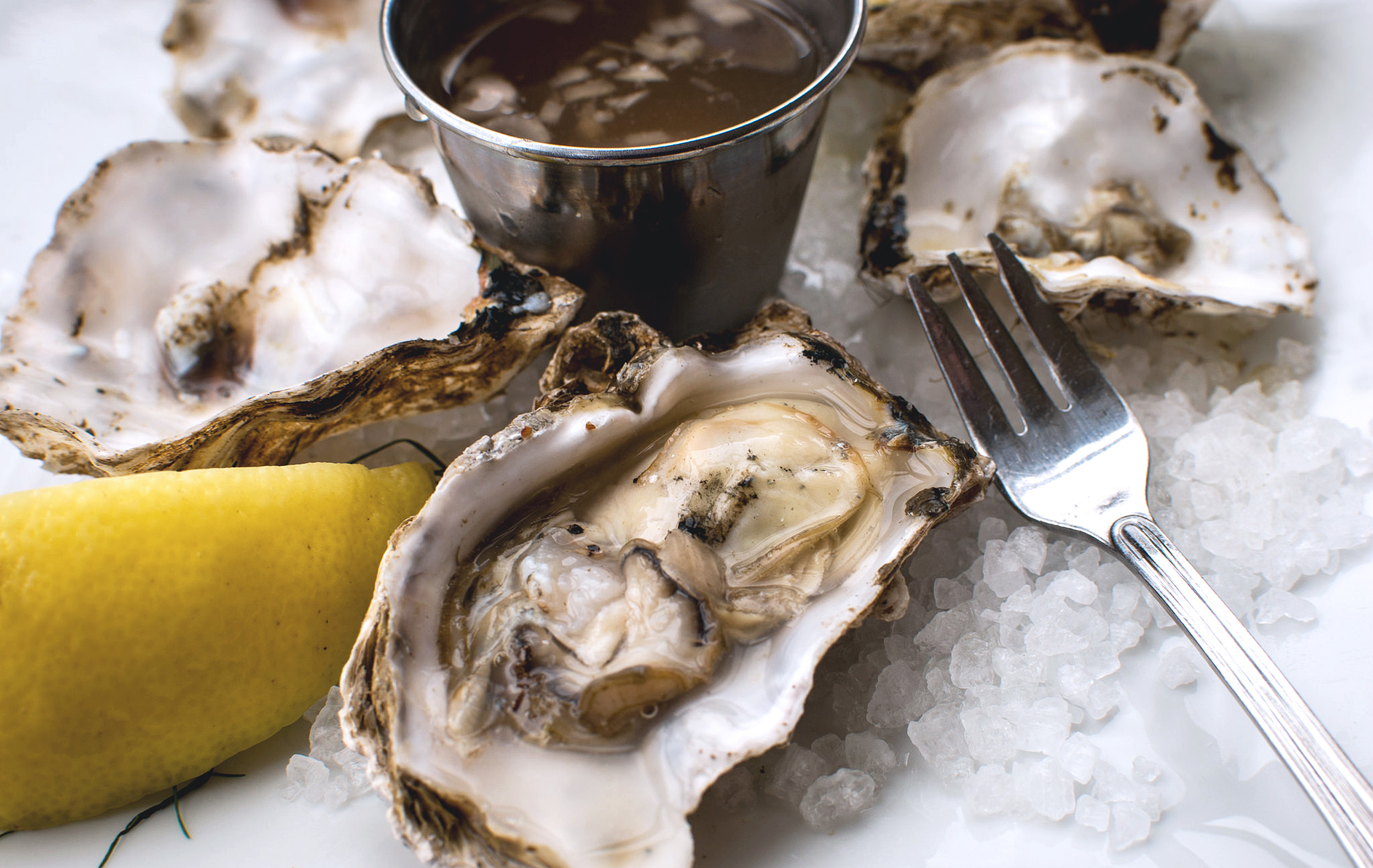 Oysters on ice with a dip, slice of lemon and a fork