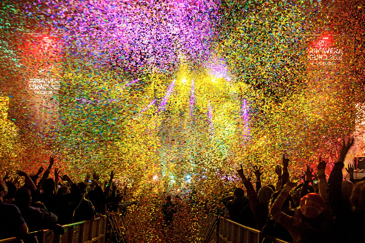 A multi-coloured confetti blitz falling on the crowd at Primavera, Barcelona