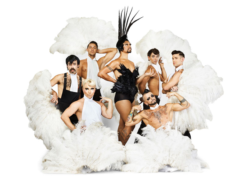 Seven men dressed for a cabaret act surrounded by white plumes and feathers at the Sydney Festival