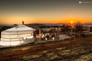 Sunset over Myrhhee in Victoria, Australia, showing a Mongolian-style yurt in the foreground