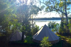 Sunlight peeking through the trees next to two tents, with a stream in the background