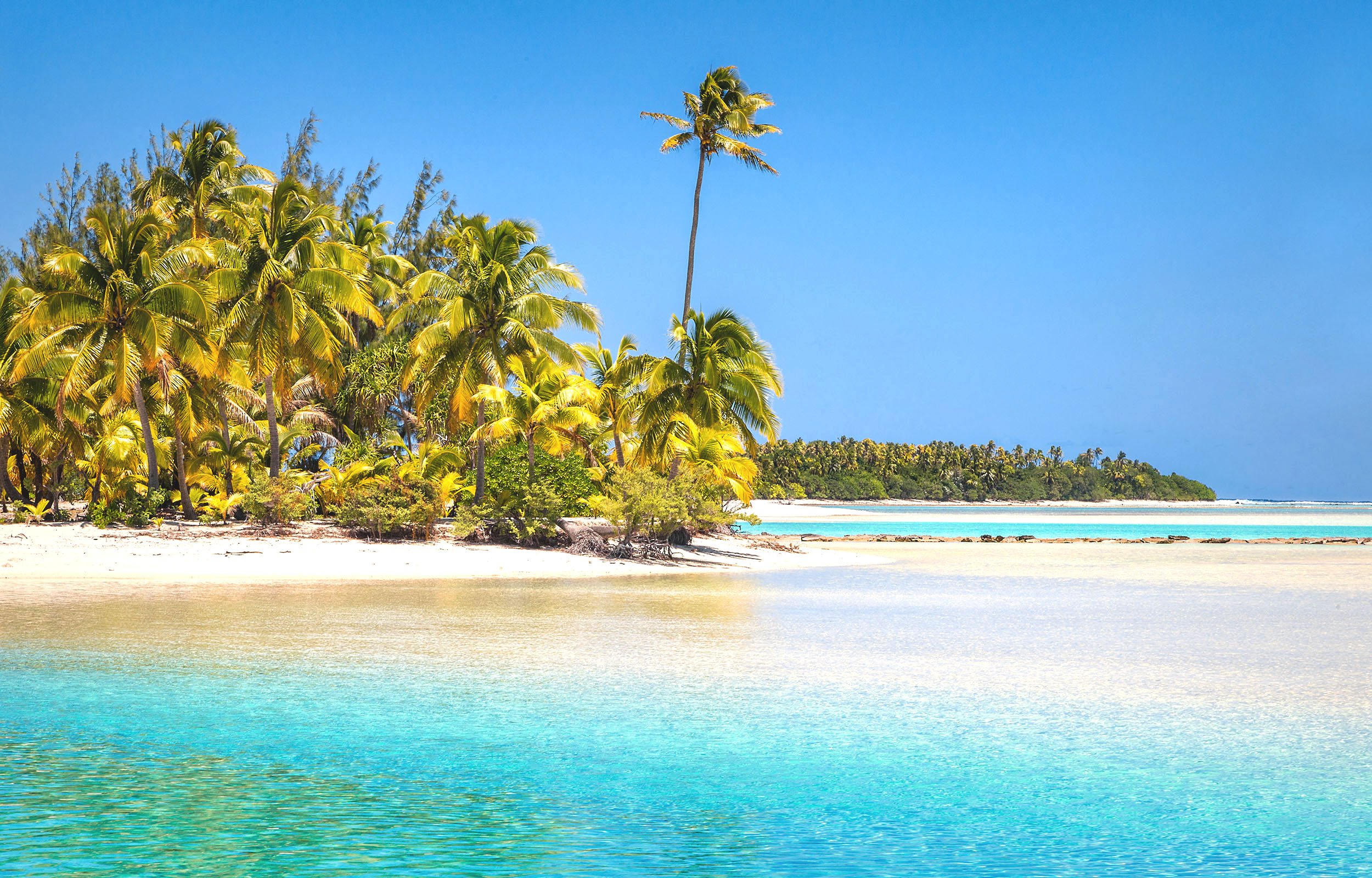 A couple of very blue inlets with sandy white beaches and palm trees in the Cook Islands